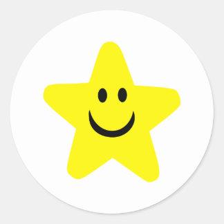 Star - Smile Round Stickers