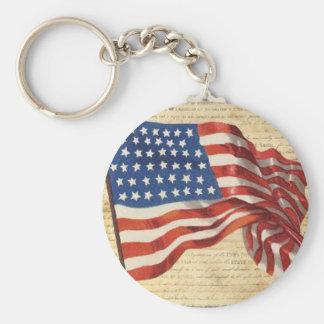 Star Spangled Banner Basic Round Button Key Ring