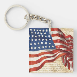 Star Spangled Banner Double-Sided Square Acrylic Key Ring