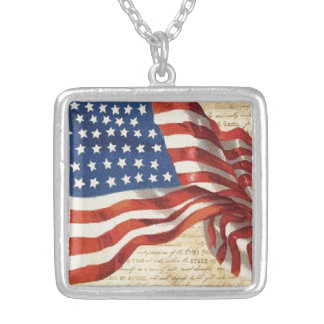 Star Spangled Banner Silver Plated Necklace