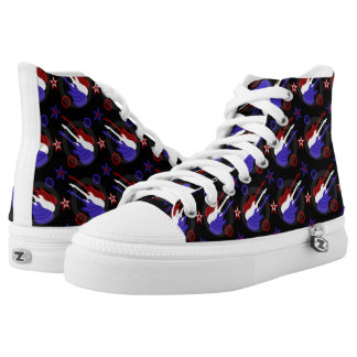 Star Spangled Guitars Pattern High Tops Printed Shoes