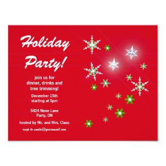 Star Sparkle Red Holiday Party 11 Cm X 14 Cm Invitation Card