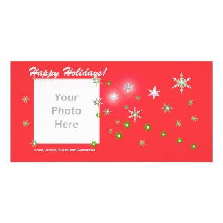 Star Sparkle Red Holidays Photo Cards