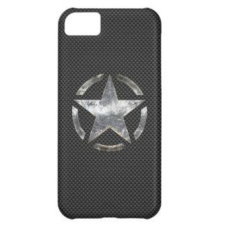 Star Stencil Vintage Decal Carbon Fiber Style iPhone 5C Case