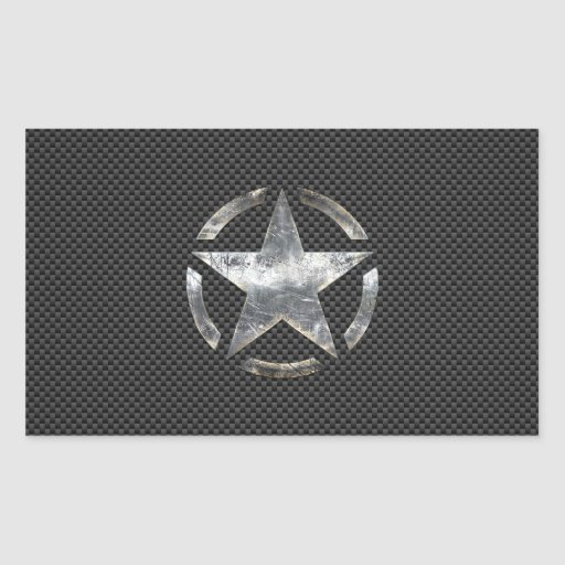 Star Stencil Vintage Jeep Decal Carbon Fiber Style Stickers