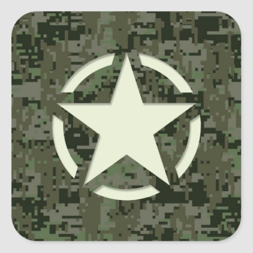 Star Stencil Vintage Jeep Decal Digital Camo Style Square Stickers