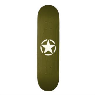 Star Stencil Vintage Jeep Decal on Kaki Green Skate Board Decks