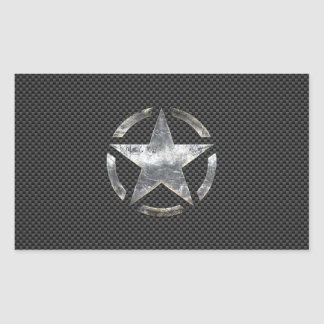 Star Stencil Vintage Tag Carbon Fiber Style Rectangular Sticker