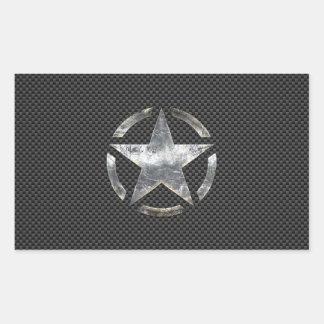 Star Stencil Vintage Tag Carbon Fiber Style Rectangular Sticker