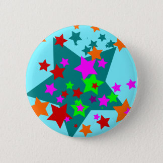Star Struck Fun Stars Teal Red Pink Lime Orange 6 Cm Round Badge