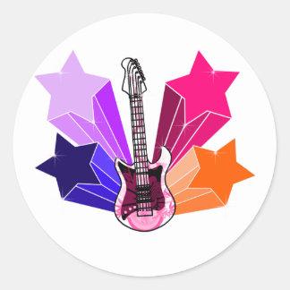Star Struck Guitar Classic Round Sticker