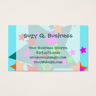 Star Struck Teal Stars Collage Business Cards