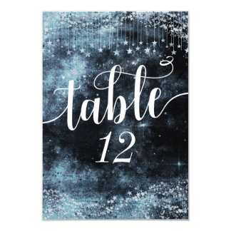 Star Struck Watercolor Sky Wedding Table Numbers Card