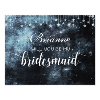 Star Struck Watercolor Will You Be My Bridesmaid Card