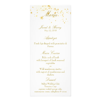 Star Studded Menu for Midnight Blue Wedding Rack Cards