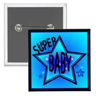 Star Super Baby Boy Blue Button