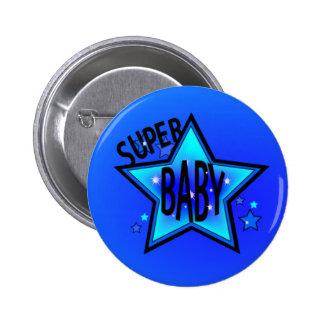 Star Super Baby Boy Blue Round Button