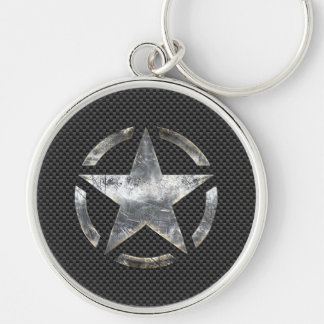 Star Symbol on a Carbon Style Decor Key Ring
