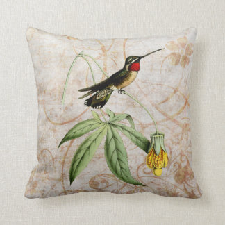 Star Throat Hummingbird Vintage Grunge Pillow