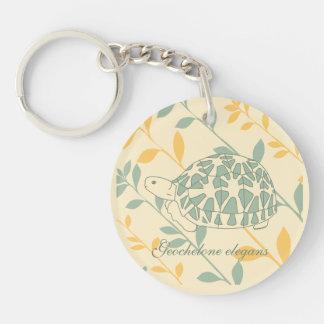 Star Tortoise Keychain (green branches)