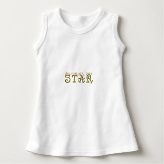 Star Typography Gold Text White Baby Dress