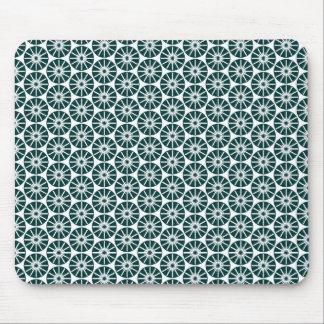 Star Wheel Pattern - Dark Green on White Mouse Pad