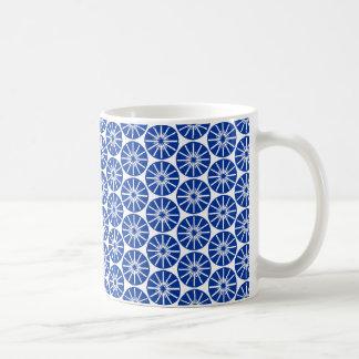 Star Wheel Pattern - Navy Blue on White Basic White Mug