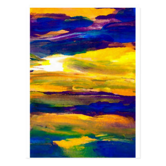 Starbright Sun Seascape Ocean Waves Art Postcard