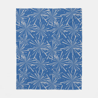Starburst China Blue and Taupe Fleece Blanket