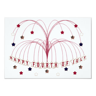 Starburst Fountain Fourth of July RSVP Card 9 Cm X 13 Cm Invitation Card