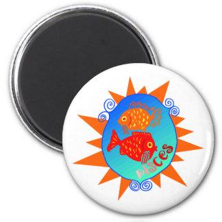Starburst Pisces 6 Cm Round Magnet