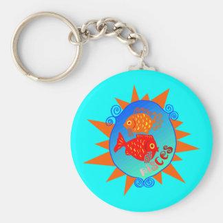 Starburst Pisces Basic Round Button Key Ring