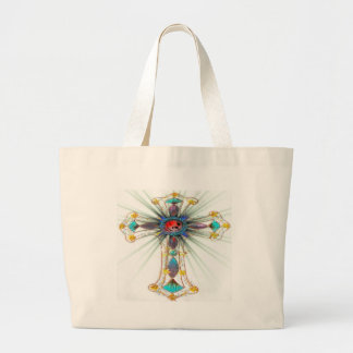 Starburst religious cross jumbo tote bag