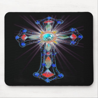 Starburst religious cross mouse pad