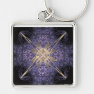 Starburst Silver-Colored Square Key Ring