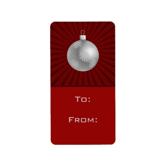 Starburst Stripes Ornament Gift Tag Labels, Red