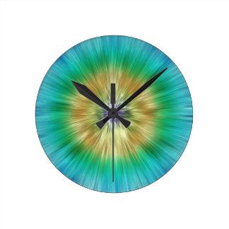 Starburst Tie Dye Round Clock