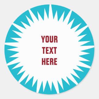 Starburst - white with custom text & background classic round sticker