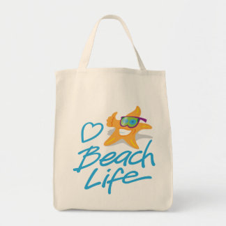 StarDude Heart Beach Life Grocery Tote