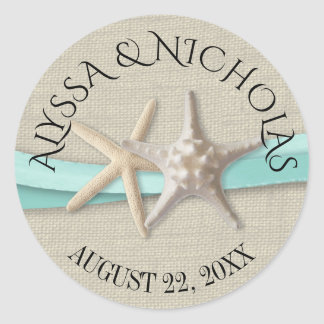 Starfish and Aqua Ribbon Classic Round Sticker