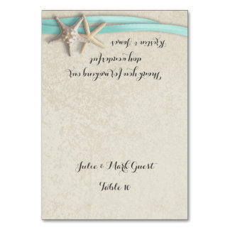 Starfish and Aqua Ribbon Place Card