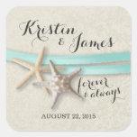 Starfish and Aqua Ribbon Square Stickers