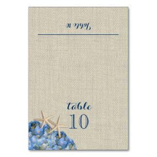 Starfish and Blue Hydrangea Place Card