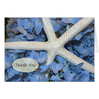 Starfish and Blue Hydrangea Wedding Thank You Note Note Card
