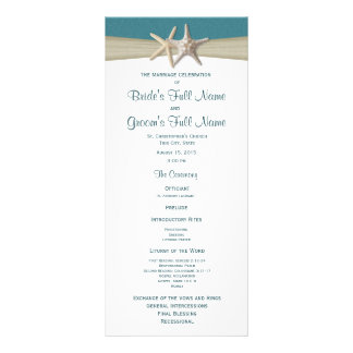 Starfish and Burlap Beach Wedding Program Rack Cards