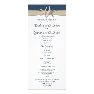 Starfish and Burlap Blue Beach Wedding Program Customized Rack Card