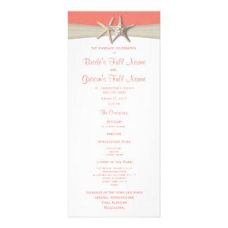 Starfish and Burlap Coral Beach Wedding Program Custom Rack Cards