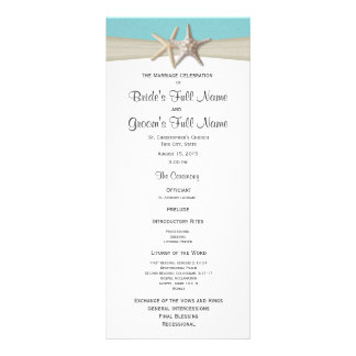 Starfish and Burlap Coral Beach Wedding Program Full Color Rack Card
