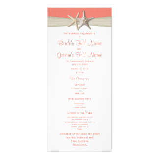 Starfish and Burlap Coral Beach Wedding Program Rack Card Template