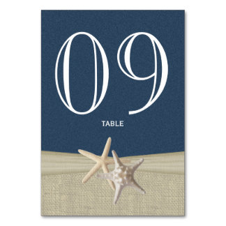 Starfish and Burlap Navy Blue Table Number Card